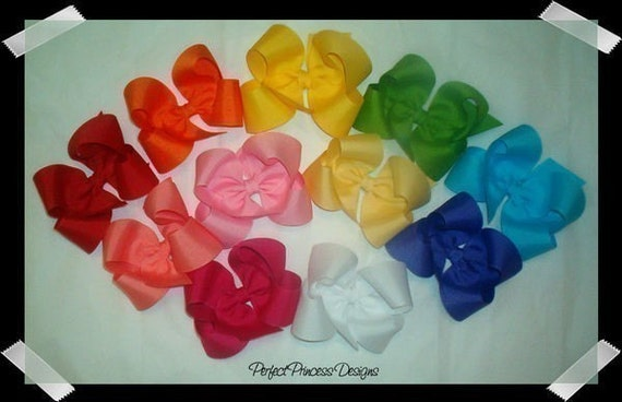 Custom Package of 10 Large Loopy Grosgrain Hair Bows - You Choose from OVER 100 AVAILABLE COLORS