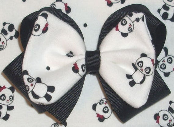 CLEARANCE SALE Holiday Panda Gymboree Fabric Hair Bow 50% OFF