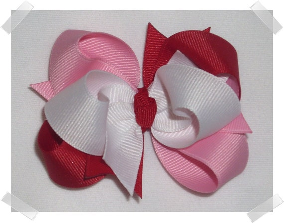 3 inch Petite Triple Loop Grosgrain Valentine's Day Hair Bow in RED, PINK and WHITE