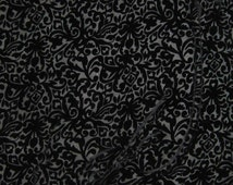 BLACK SCROLL - Burnout Silk Velvet Fabric - 1 Yard
