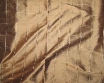 Embroidered Silk DUPIONI Fabric - Milk Chocolate Squares - 1 Yard