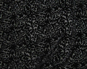 BLACK SCROLL - Burnout Silk Velvet Fabric - fat 1/4