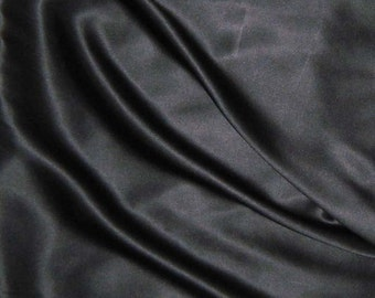 BLACK Silk Charmeuse Fabric - 1/4 Yard
