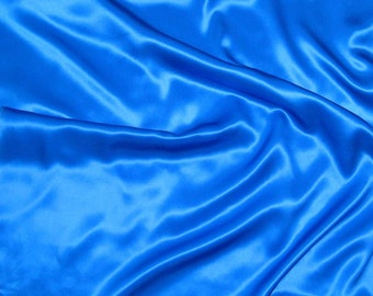 ROYAL BLUE Silk Charmeuse Fabric - 1 Yard