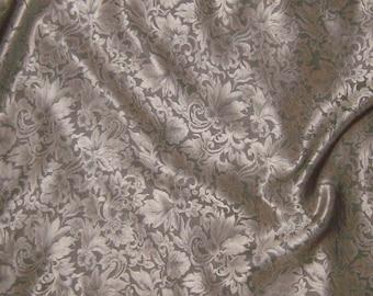 Silk Jacquard Fabric - Beige Leaves Scroll - 1 Yard