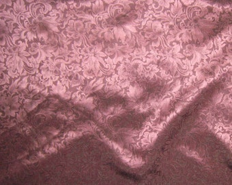Silk Jacquard Fabric - Antique Rose Leaves Scroll - 1 Yard