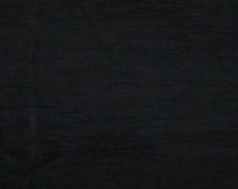 Crinkle Silk/Rayon Fabric - Black - remnant