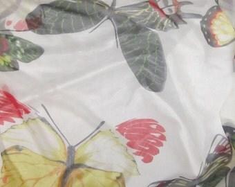 Silk Chiffon Fabric - Large BUTTERFLIES - 1/2 Yard