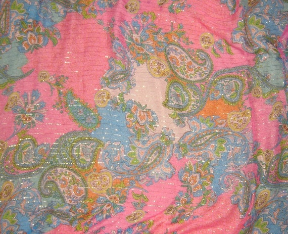 Metallic Silk Chiffon Fabric Pink And Blue Paisley By