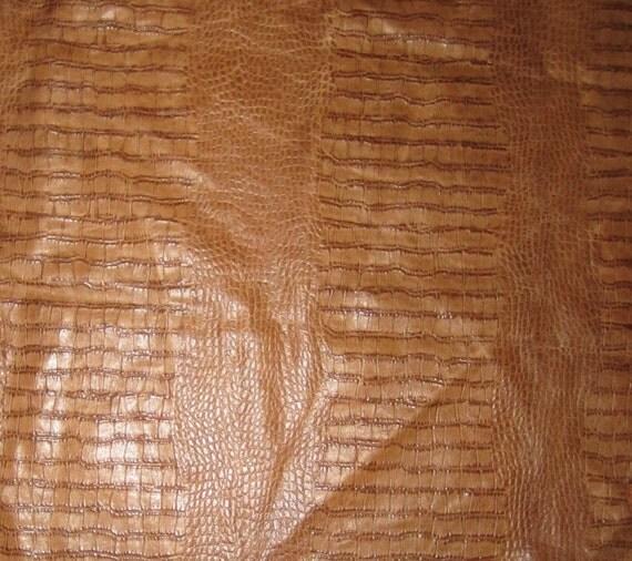 Brown Embossed GATOR Leather Hide