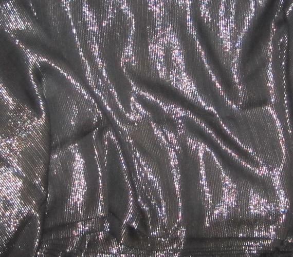 Black With Silver Stripes Silk Chiffon Fabric 1 Yard