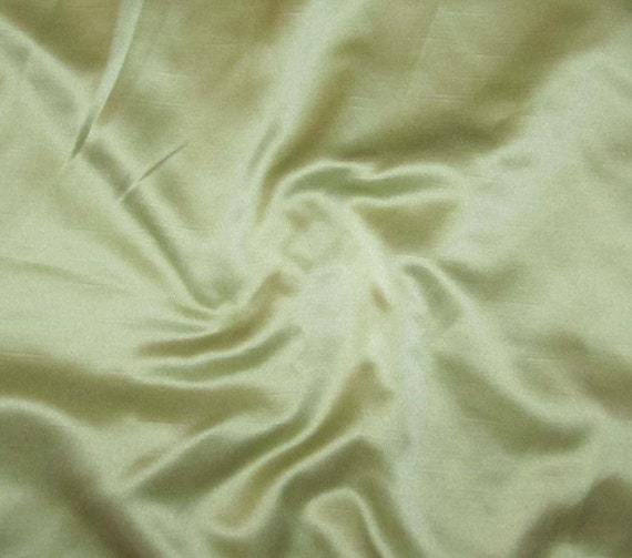 Shantung Satin Fabric - Light Green - remnant