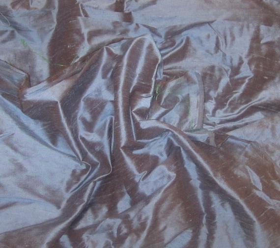 Blue/Brown Silk Dupioni Fabric - fat 1/4