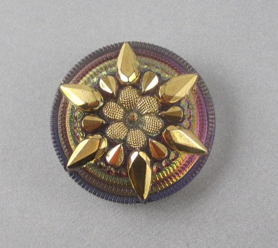 Glass Button - Iridescent Mirror Back - Purple & Gold Snowflake