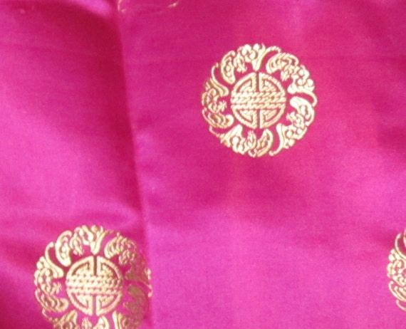 HOT PINK Medallions - Silk Brocade Fabric - remnant