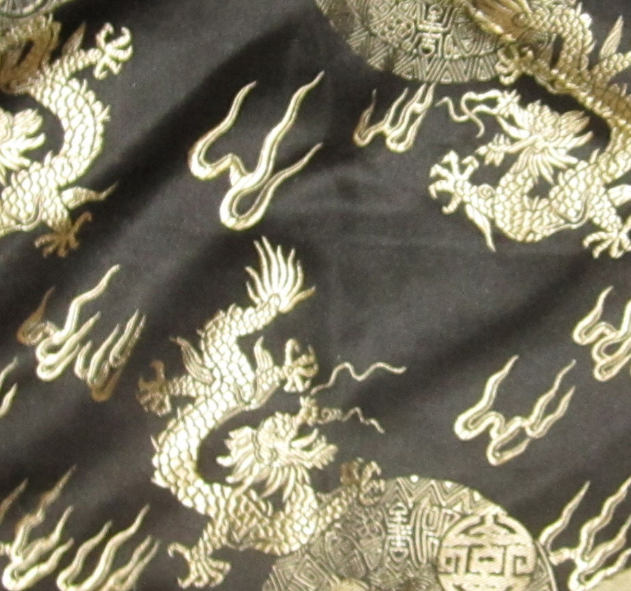 Black And Gold Dragons Silk Brocade Fabric Remnant