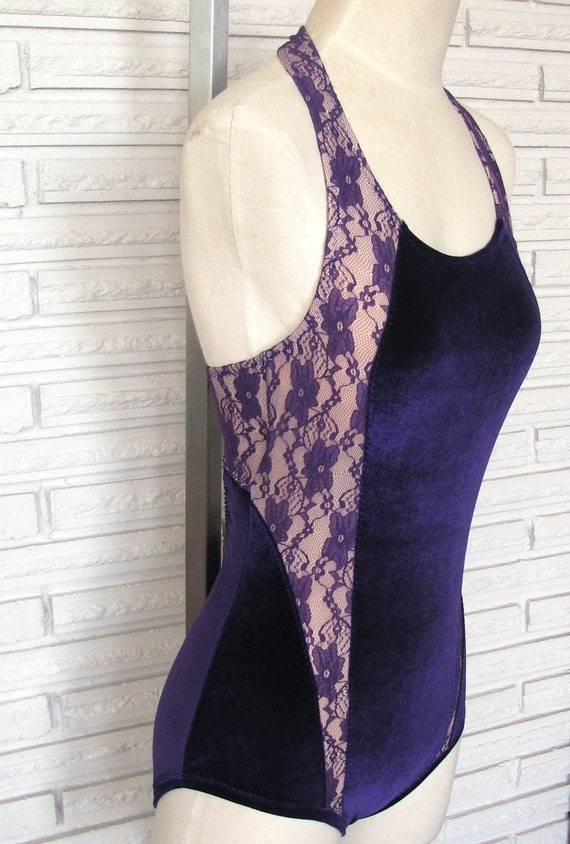 Leotard Bodysuit Aerial Costume, Purple Lace and Velvet, Size Small