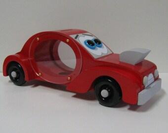 Wood Piggy Bank - Red Race Car