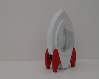 Rocket Ship Bank  - White/Red