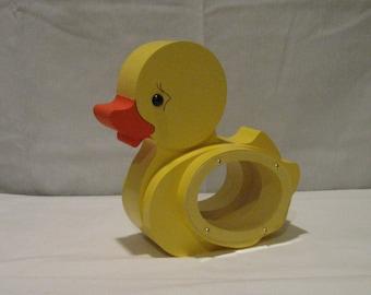 WOOD PIGGY BANK - Yellow Duck