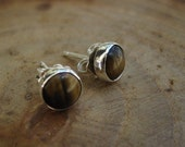 Handmade Tiger eye Sterling Silver Studs Post Earrings 6mm READY TO SHIP