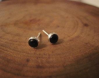 Handmade Black Onyx Sterling Silver Studs Post Earrings 4mm