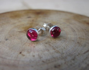 Ruby Sterling Silver Studs Post Earrings 6mm