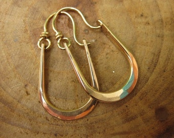 Petite Maria Hammered 14kt Gold Filled Hoops Earrings U Shape Ready to Ship