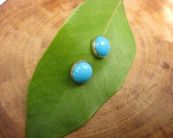 Handmade Sleeping Beauty Turquoise 14kt Yellow Gold Studs Post Earrings 8mm
