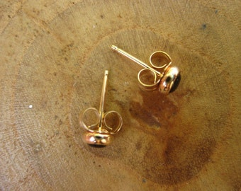 Handmade Onyx 14kt Yellow Gold Studs Post Earrings 4mm