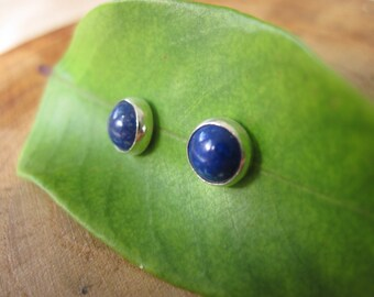 Lapis Lazuli Sterling Silver Studs Post Earrings 6mm September Birthstone