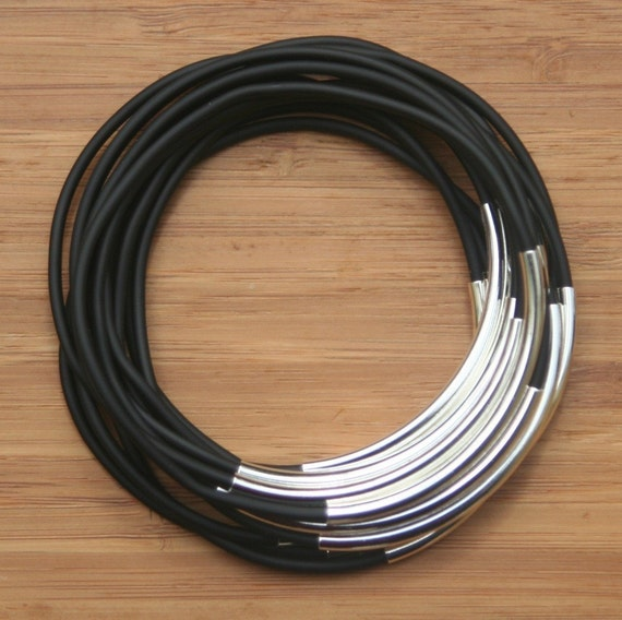 Black or Brown Rubber Cord Bangles With Silver Plated Tubes Vegan Version Non-leather