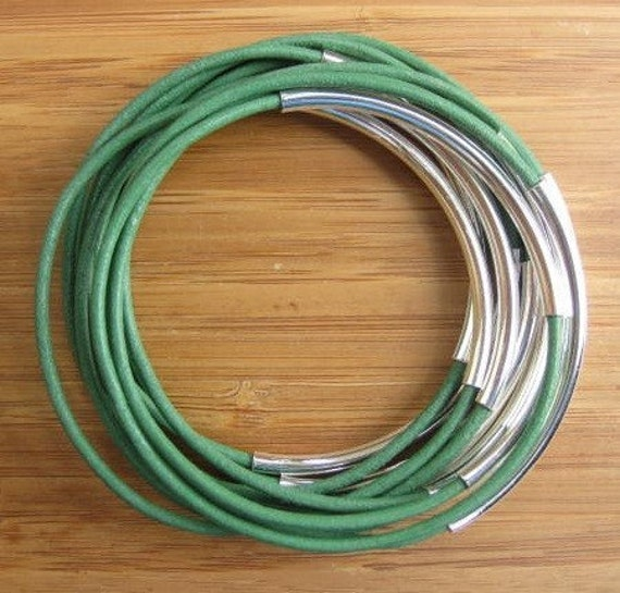 Mint Green Leather Cord Bangles With Silver Plated Tubes