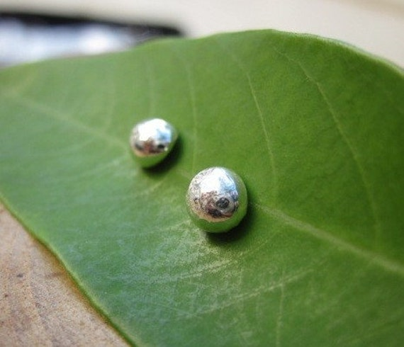 Handmade Organic Recycled Sterling Silver Studs Post Earrings Ready to Ship