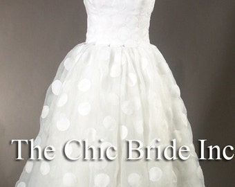 Short Polka Dot Wedding Dress
