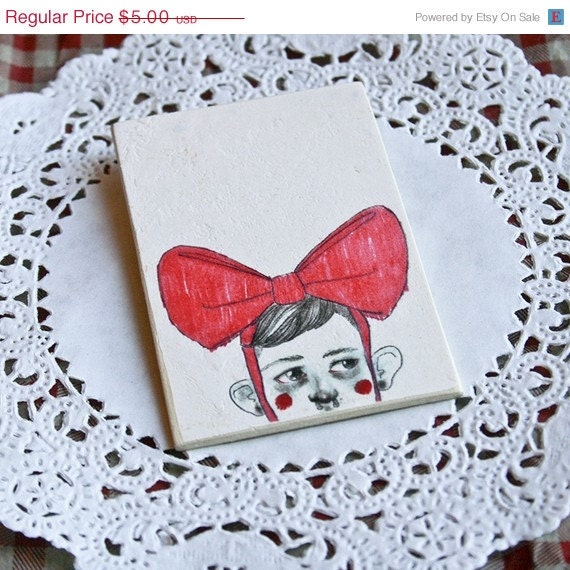 SALE Pink Bow Boy Brooch - 3 inches