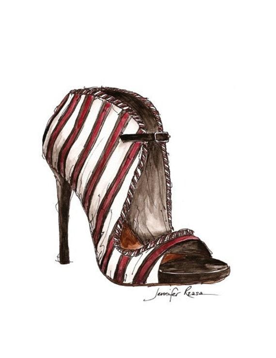 Tabitha Simmons Shoe Watercolor Fashion Sketch Print