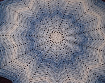 Crocheted Blue StarBurst Afghan (Blanket)