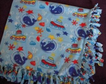 Whale NoSew Fleece Blanket