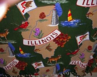 Illinois State Blanket NoSew Fleece
