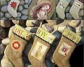 Burlap Christmas Stockings Sewing Pattern PDF Instant download