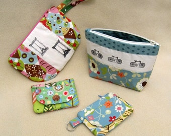 Zippered Pouches Sewing Pattern PDF
