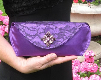 Purple Clutch with Brooch Ready to Ship