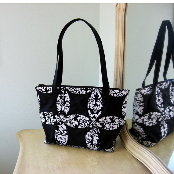 Ready to Ship Black and White Cathedral Windows Tote