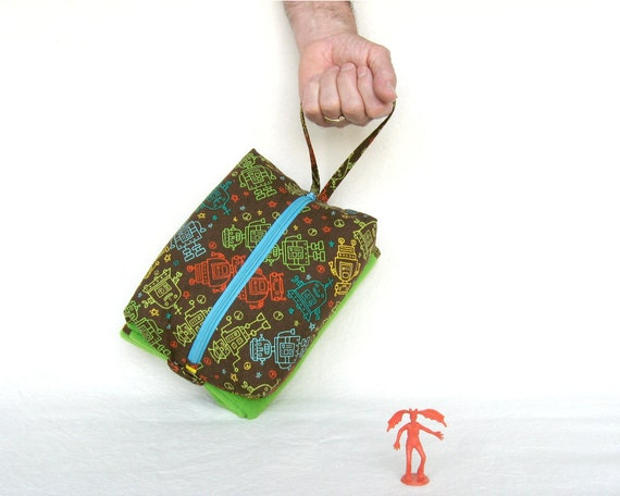 Change Pad Bag Compact Travel Made to order in Robots Fabric