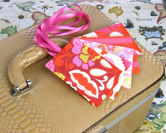 Wedding Party Gift Ideas, 50 Bridal Shower Favors, Luggage Tags in 5 coordinating fabrics