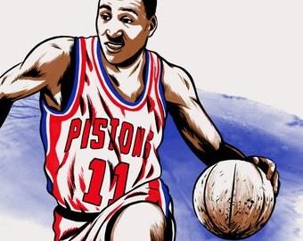 Isiah Thomas Detroit Pistons NBA Basketball Illustrated Print