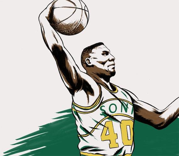 Basketball NBA Player Shawn Kemp of the Seattle SuperSonics NBA Illustration Print
