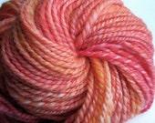 Immortal Peach handspun hand-dyed yarn