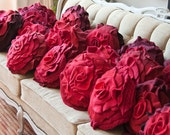 Red Ombre Ruffle Rose Pillow - Size Small